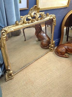 English Antique Gilt & Gesso Overmantle Mirror