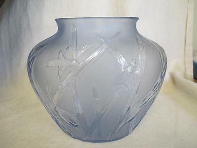 Phoenix Consolidated Blue Frosted Glass Vase w/ Grasshoppers ks1