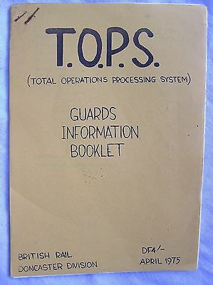 Book - British Rail T.o.p.s. Guards Information Booklet - Br Doncaster 1975