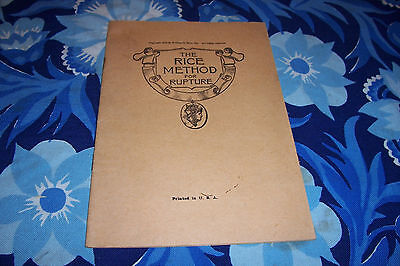 1918 The Rice Method for Rupture ( Hernia Relief ) Illustrated Remedies