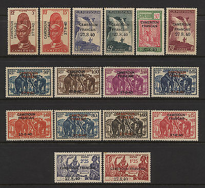 Cameroon French Admin 1939 / 1940 Collection 16 Ovprt Stamps Unused