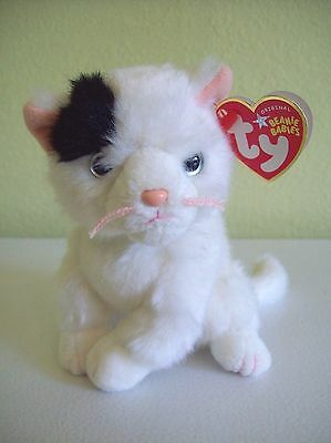 "Ty Beanie Babies 2004 6"" Kitty Cat Delilah White w/ Black Ear Long Haired"