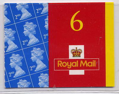 GB 2001 6 x 2nd CLASS SELF ADHESIVE BOOKLET MA1a