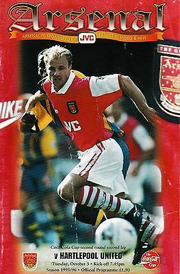 Football Programme ARSENAL v HARTLEPOOL UNITED Oct 1995 Coca-Cola Cup