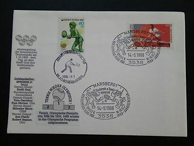 olympic games Seoul 1988 tennis joint issue FDC Germany Korea 66952