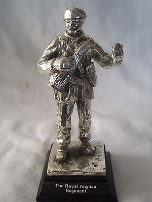 The Royal Anglian Regiment Royal Hampshire Pewter / Silver Plate Military Figure