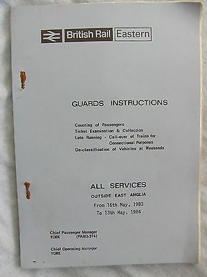 Book - British Railways Eastern - Guards Instructions 1983