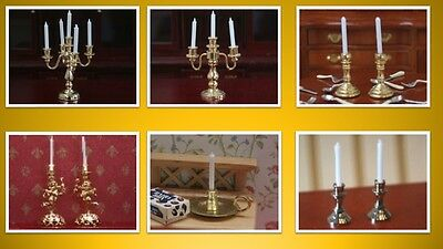1:12 scale dolls house miniature candlesticks & candelabras 6 to choose from.
