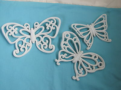 Set 3 Vintage Home Interior Homco White Butterfly Wall Hangings.
