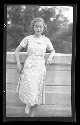 Photo Negative 1940s  Lady in nice looking dress