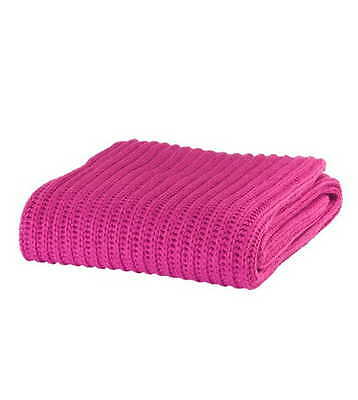Raspberry Chunky Knit Knitted Soft Cosy Throw Blanket Wrap - Catherine Lansfield