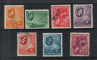 Seychelles George VI 1938-49 Seven values to 18c used