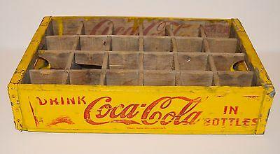 Vintage 1950's Coca Cola Wooden Crate 1957 Yellow Divided Soda Bottle Drink Case