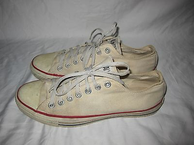 Vintage Converse ALL STAR Shoes Made In USA Used White Sneakers Men's 10