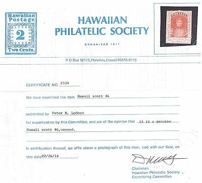 """Hawaii #6 Dark Red On Thick Paper With Hps Certificate """"genuine"""""""