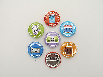 36 BULLYING Awareness Anti-bullying PINS mini button pins FREE S/H party favors