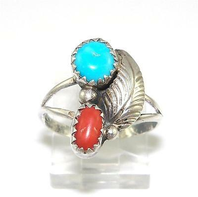 Sterling Silver Turquoise Coral Ring Size 5.5