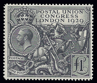 Great Britain stamps 1929 PUC ₤1 Black (SG 438) MLH ₤750 / $945