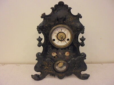 Rare!! Antique Bradley & Hubbard Cast Iron Pcf Mantle Table Clock