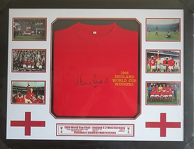Martin Peters Signed England 1966 World Cup Shirt & Photo Display Framed AFTAL
