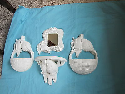 Set 4 Home Interior Homco White Love Doves Wall Hangings. Shelf Planters Mirror