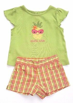 a411ab1ca Gymboree ALOHA SUNSHINE 18-24 mo Green Pineapple Cutie Shirt 2T Plaid  Shorts Set