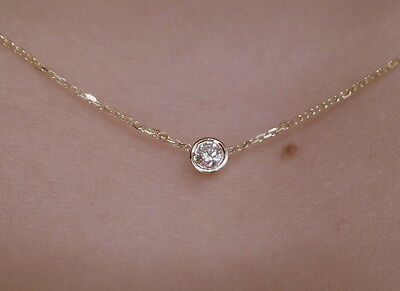 DIAMOND SOLITAIRE BEZEL SET NECKLACE 14K YELLOW GOLD 0.07 CT SI1 Clarity G COLOR