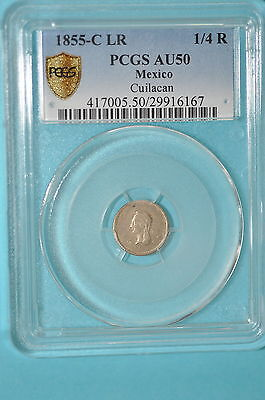 Mexico Silver 1/4 real 1855 C LR Single Year for Mint. PCGS AU50