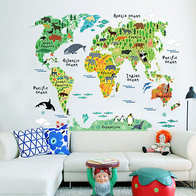 1PC Neuf PVC Mural Autocollant Sticker Maison Déco Animal World Map 73*95cm