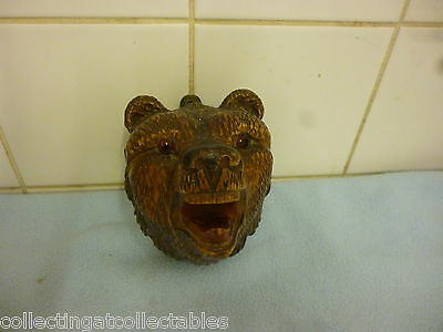 Antique Black Forest Bear Head With Glass Eyes Wall Hanging