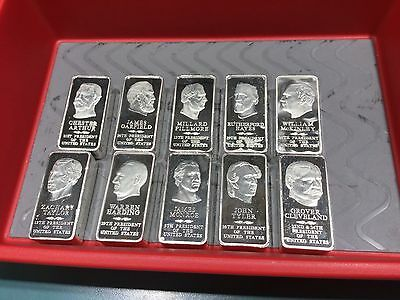 Lot Of Presidential Ingot Collection 2500 Grain Sterling Silver Bar Danbury Mint