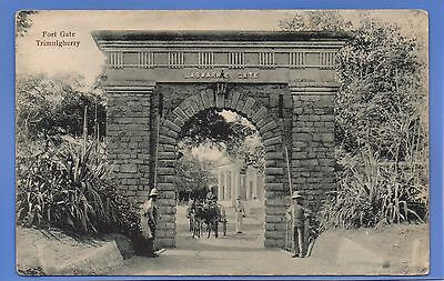 EARLY 1905c SOLDIERS GUARDING FORT GATE TRIMULGHERRY VINTAGE POSTCARD