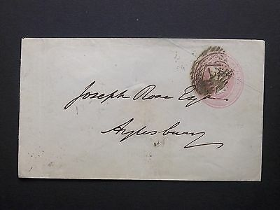 GB London Stationery 1848 QV 1d Pink Envelope 7 Single Obliterator to Aylesbury