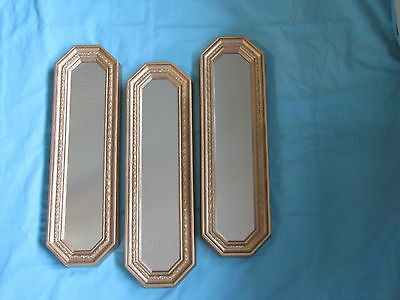 "Set 3 Home Interior Homco Gold Wall Mirrors/Hangings. 18"" Tall"