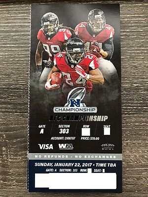Green Bay Packers Atlanta Falcons Season Ticket Stub Nfc Championship 1/22/2017
