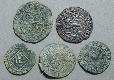 *HHC* Lot of 5 assorted Medieval coins from Spain (Inv #906)