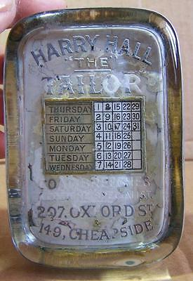 Vintage Glass Advertising Paperweight With Internal, Moveable Calendar.