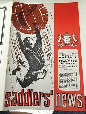 WALSALL V TRANMERE MARCH 25 1969 Division 3