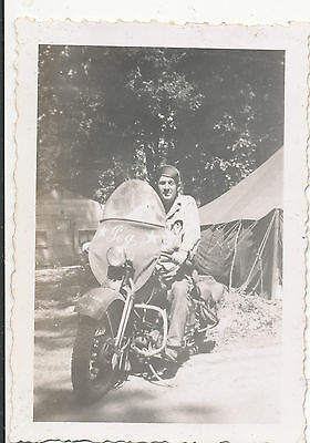 """WWII 1940s US Army  GI &  Army Motorcycle  """"PEG"""" Photo #2"""