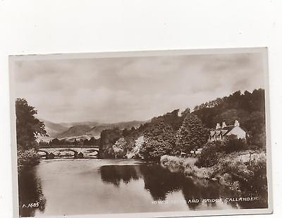 The River Teith and Bridge,Callander,Stirlingshire,RPPC,(Valentines)