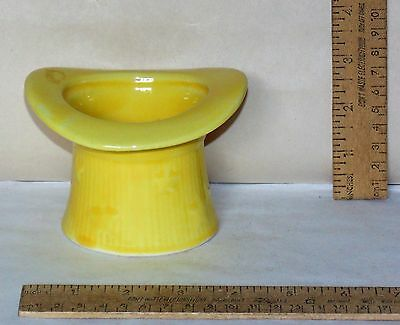 TOP HAT - YELLOW Planter Shawnee - marked USA - vertical ribs and stars - AS IS