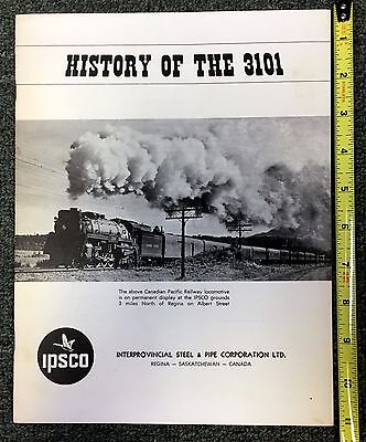 1966 History Of The 3101 Canadian Pacific Railway Locomotive Train Pamphlet