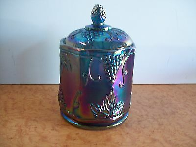 Indiana Carnival Glass Blue  Grape Candy Dish