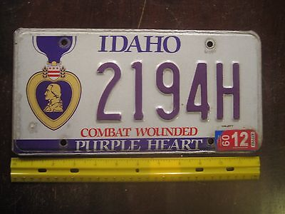 License Plate, Idaho, Purple Heart, Combat Wounded, 2194 H
