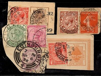 GB - George & QV stamps with Natal/OFS & FRench stamps with UK postmarks,unusual