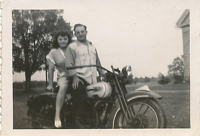 WWII 1940s  US Army GI back home on his motorcycle with gal, Photo