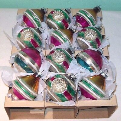 12 Vintage Shiny Brite Mercury Glass Christmas Ornaments Striped UFOs & Indents