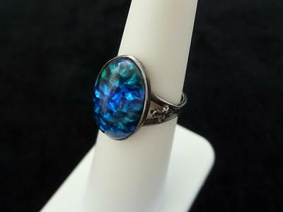 Antique Sterling Silver & Blue Art Glass Ring w/ Leaves, Marked 'Sterling'
