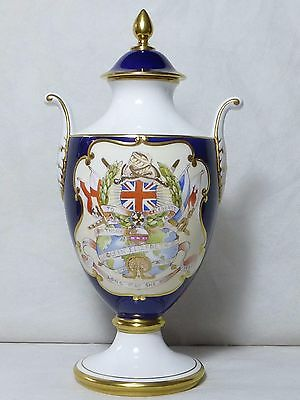 Limited Edition Caverswall Queen Elizabeth II 60th Birthday Urn Freehand Painted