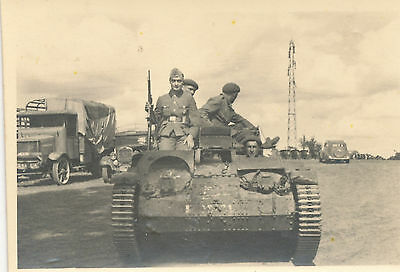WWII 1940s Photo #2  German amored vehicle & crew, trucks, cars, tower